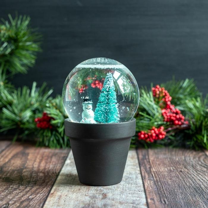 bastelideen für weihanchten kleiner schwarzer blumentopf tannenbaum schneemann diy ideen und anleutungen winterdeko