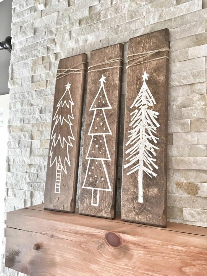 bastelideen für weihnachten holzplatten dekoriert mit weißerfarbe tannenbaum malen verschiedene designt bilder set