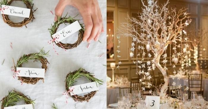 bastelideen für weihnachten weihnachtsdeko sebst basteln tischdeko tischnamen kränze festliche stimmung