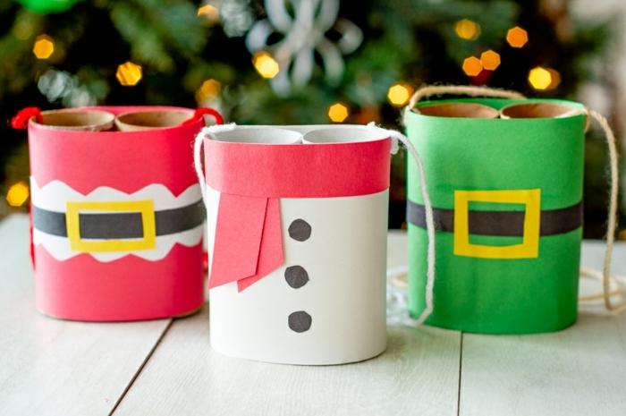 bastelideen für weihnachten weihnachtsdeko selber machen mit kindern weihanchtsschmuck aus papierrollen klorollen