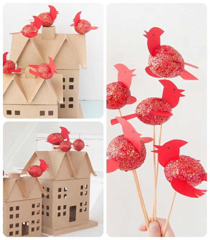bastelideen für weihnachten weihnachtshäuschen aus pappe dekoriert mit roten vögeln glitzervögel diy ideen für kinder