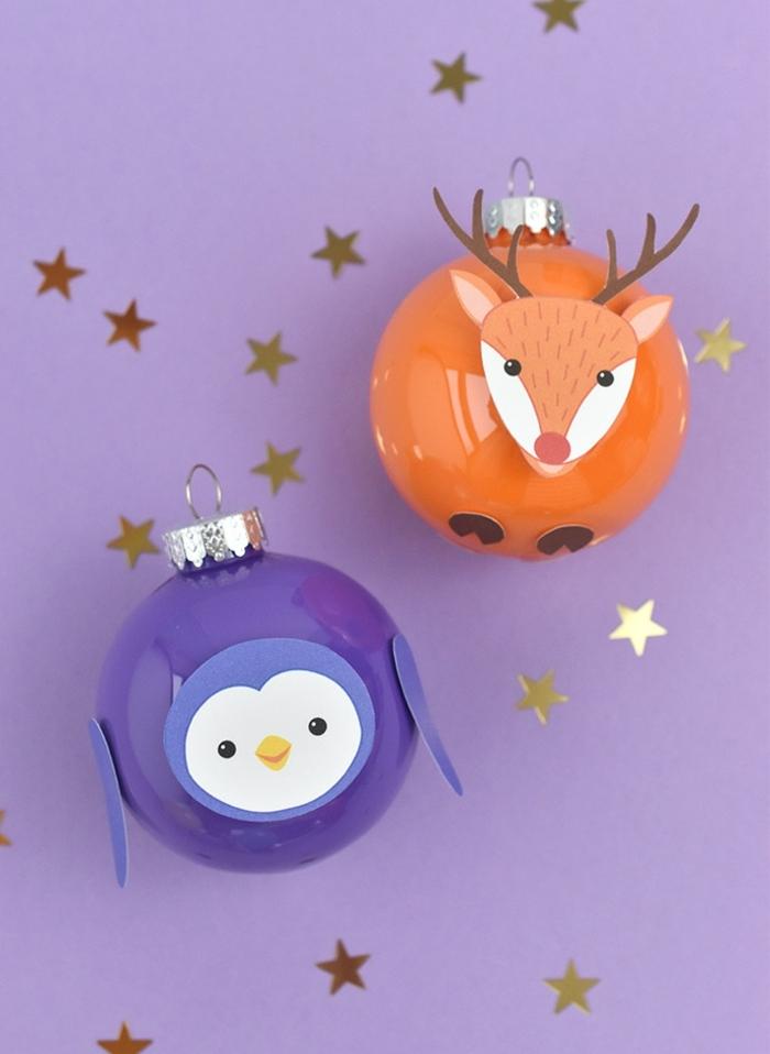 bastelideen für weihnachten weihnachtskugel hirsch und pinguin goldene sterne basteln mit kindern