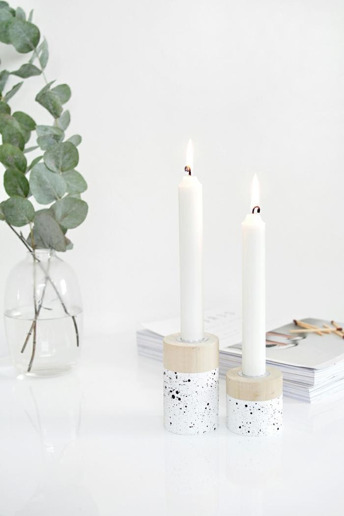 bastelideen für weihnachten zum verschenken kerzenhalter aus holz weiße kerzen tischdeko für den winter winterdeko