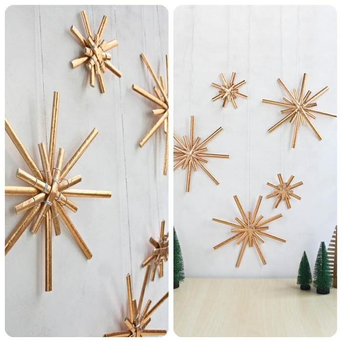bastelideen weihnachten einfach außgefallene selbstgemachte deko für den winter goldene sterne papierstene wand festlich dekroieren