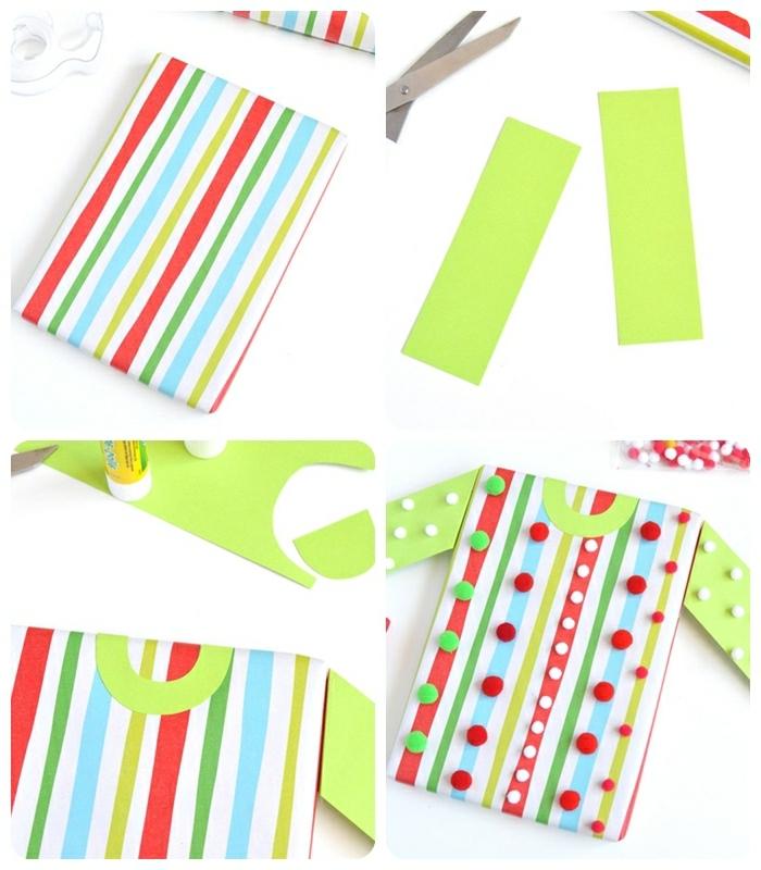 basteln für weihnachten bastelideen für kinder und erwachsene bluse dekoriert mit washi tapes und kleinen pompons