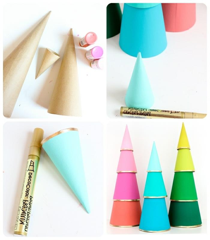 basteln für weihnachten diy ideen für kleine und große tannenbäume aus papierkegeln papierbäume weihnachtsdeko ideen
