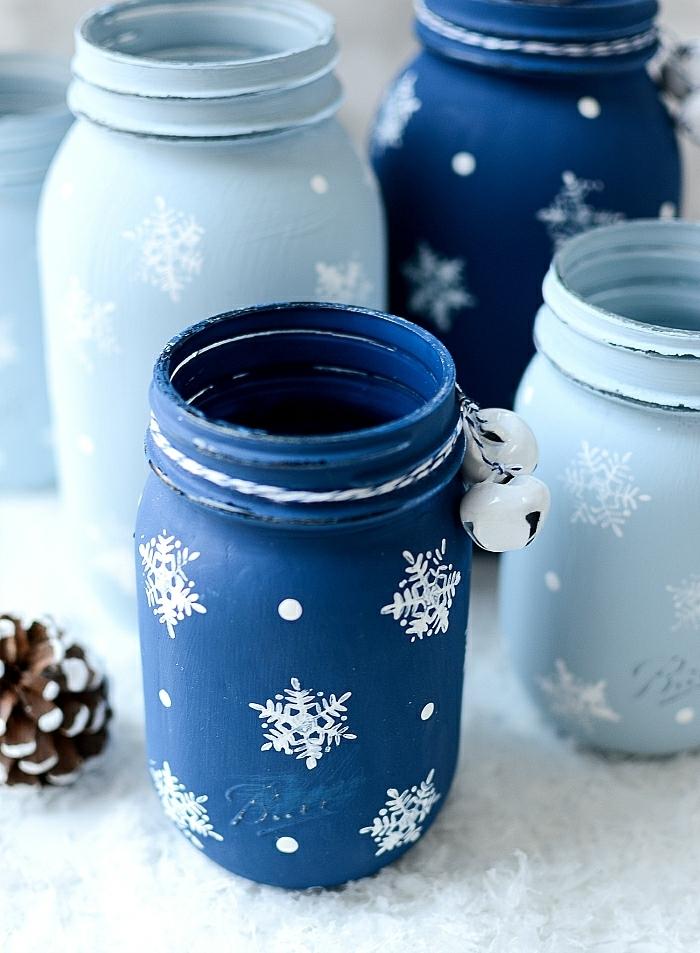 basteln für weihnachten windlicher selber machen upcycling einmachgläser dekoriert mit acrylfarbe