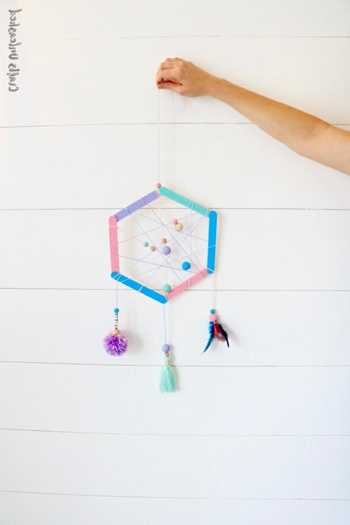 basteln mit kindern bunten traumfänger selber machen kreative bastelideen diy dekoration wohnung