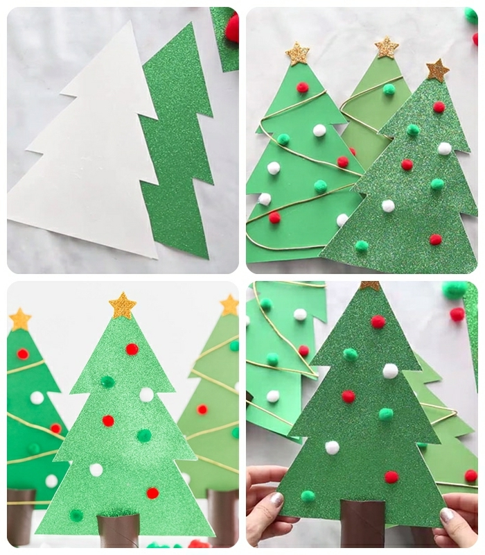 basteln weihnachten kinder diy ideen weihanchtsdeko selber machen tannenbäume aus papier selber machen weihnachtsbäume