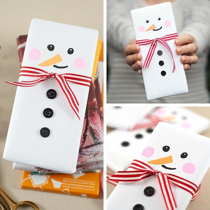 basteln weihnachten kinder geschenke originell verpacken schneemann diy ideen weihnachtsgeschenke