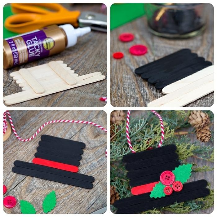 basteln weihnachten kinder schwarzer hut aus holzstäbchen weihanchtsdeko anleitung winterdeko