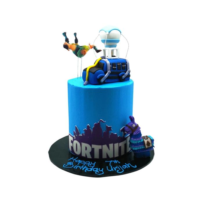 blaue torte fortnite geburtstag kuchen originelle ideen bunte lama figur dekoration fliegender mann auto deko