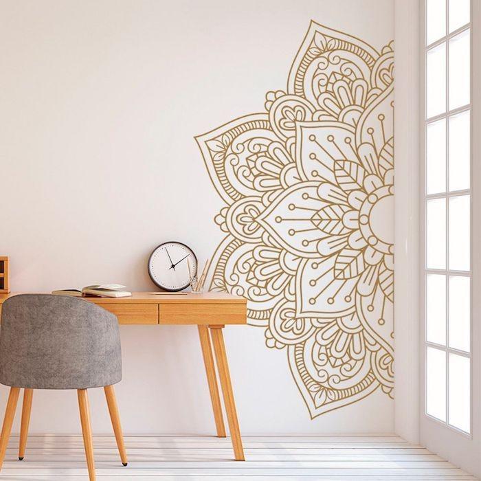 boho deko moderne boho wanddeko tapete mandala holztisch stuhl holz stoff