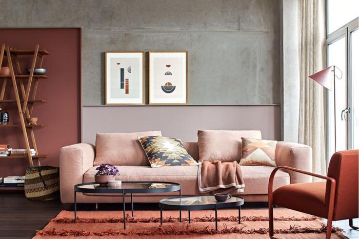 boho deko style boho einrichtung wohnzimmer mauve farbe rosa grau wände sofa mauve boho style