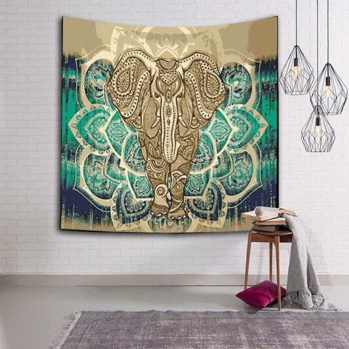 boho style deko wohnzimmer weiße wand wanddeko tuch elefant india