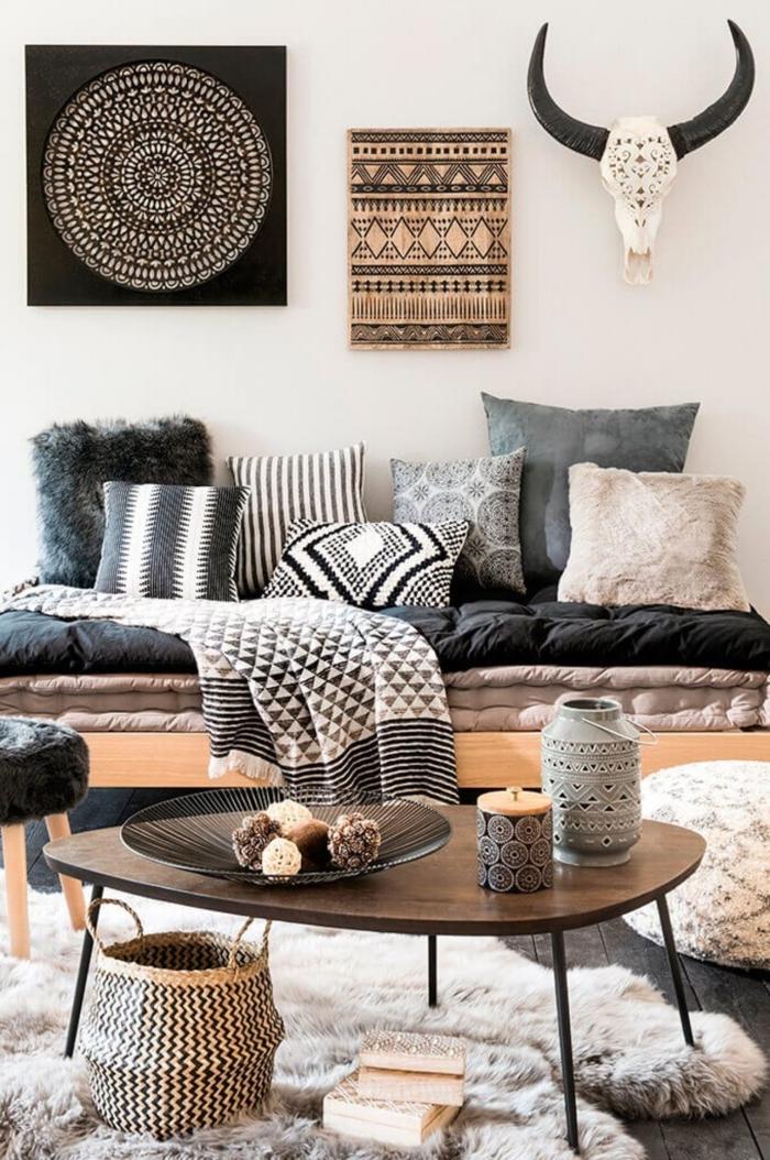 boho style einrichtung wandtuch mandala schwarz afrikanische deko