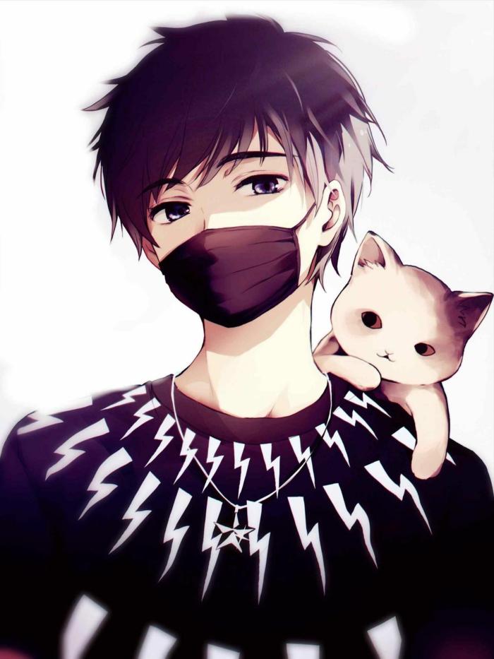 boy anime wallpaper junge schwarzer pulli maske katze am arm