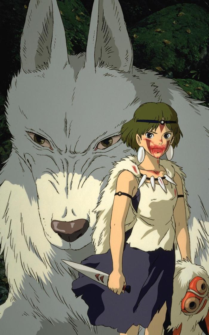 boy anime wallpaper mädchen und weißer wolf mononoke