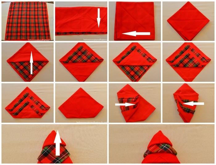 collage diy anleitung servietten falten für weihnachten schöne dekoration weihnachtstisch