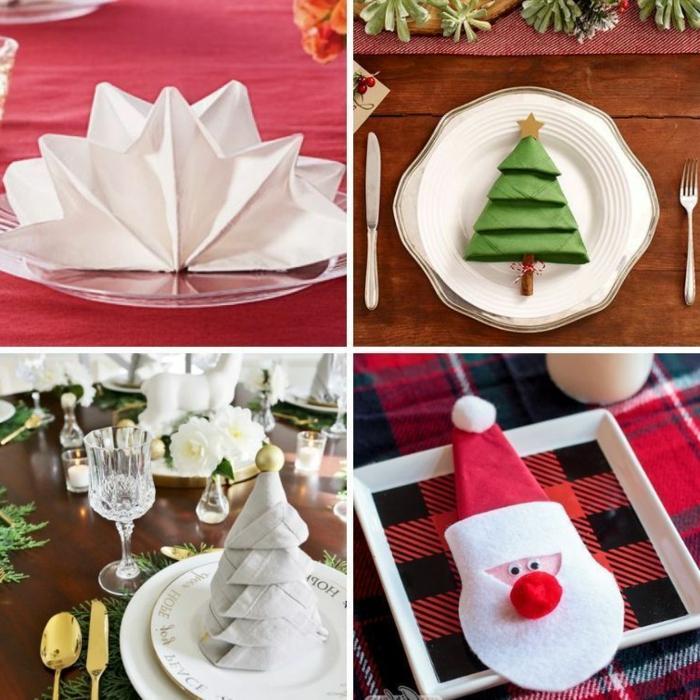 collage inspiration servietten falten modern weihnachten tischdeko weihnachtsbaum weihnachtsmann falten ideen inspiration