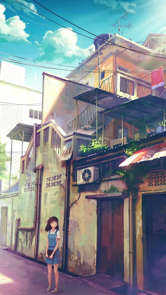 cute anime wallpaper iphone mädchen steht vor großem haus blaue himmel