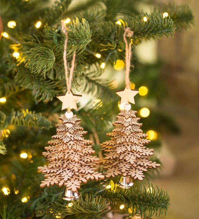 deko tannebäume aus holz baum dekoriert mit lichtern weihnachtsbaum schmücken kreative ideen inspiration