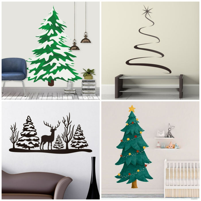 dekoration inspiration wandtattoo weihnachten weihnachtsbaum ideen collage originelle deko ideen inspo