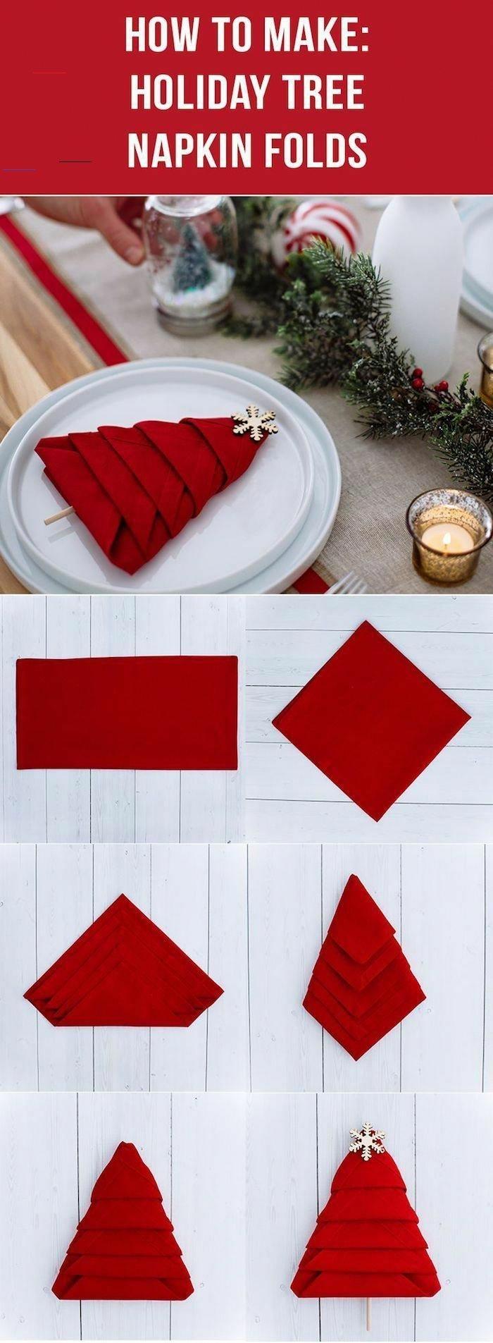 diy erklärung schritt für schritt anleitung weihnachtsservietten falten weihnachtsbau falten serviette kreative bastelidenn
