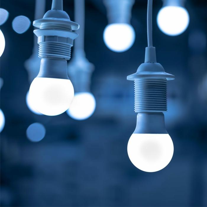 drei blaue led lampen led beleuchtung