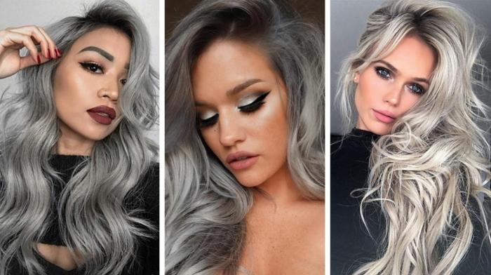 drei frauen mit langem grauem haar drei frisuren für frauen graue haare hausmittel
