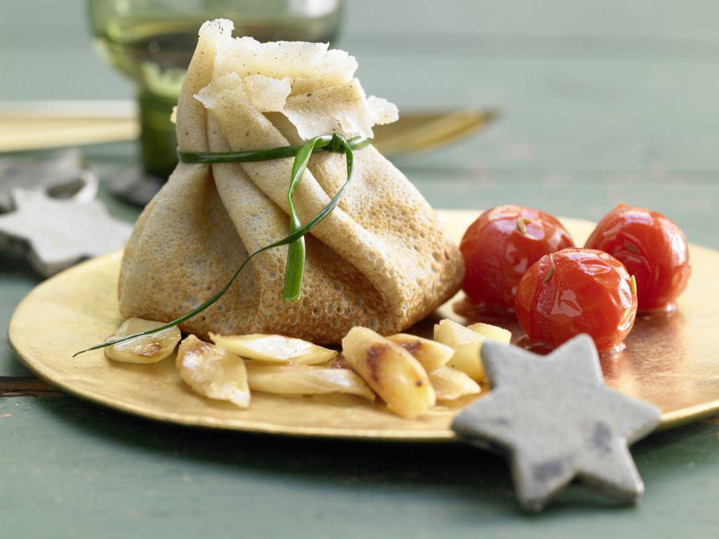 festliche weihnachtsmenü schnelle leckere vorspeisen crepes bällchen mit schwarzwurzeln
