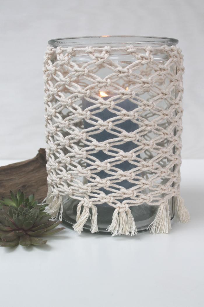 fischernetz knüpfen makramee windlicht diy anleitung pflanz
