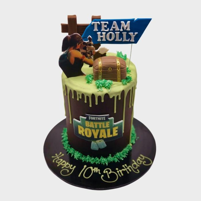 große schokoladentorte tortenaufleger fortnite battle royal inspiration 10 geburtstag kuchen