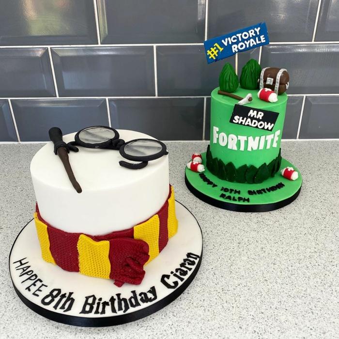 harry potter fornite kuchen deko inspiration grüne torte verschiedene ideen für geburtstagstorte