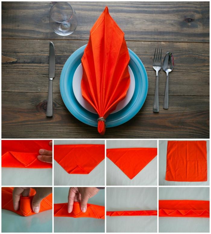 herbstblatt servietten falten einfach diy schritt für schritt anleitung blauer teller orange serviette tischdeko ideen