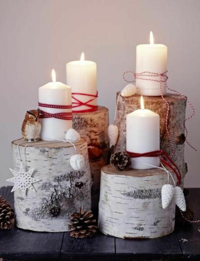 ideen adventskranz baumscheiben birne vier stücke weiße kerzen rotes band künstliche zapfen