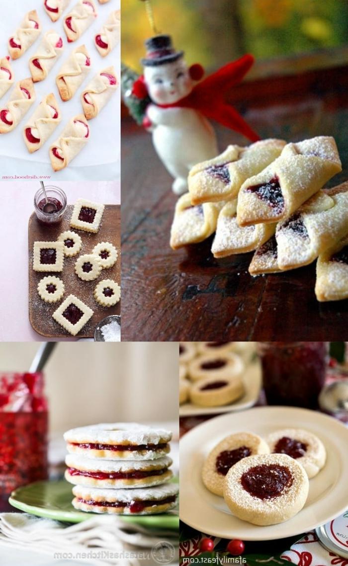 ideen und inspiration weihnachtsgebäck selber machen verschiedene plätzchen mit marmelade verschiedene sorte collage