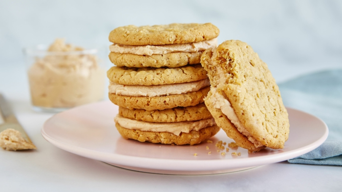 kekse mit wenig zucker machen erdnüssenbutter sandwich kekse low carb
