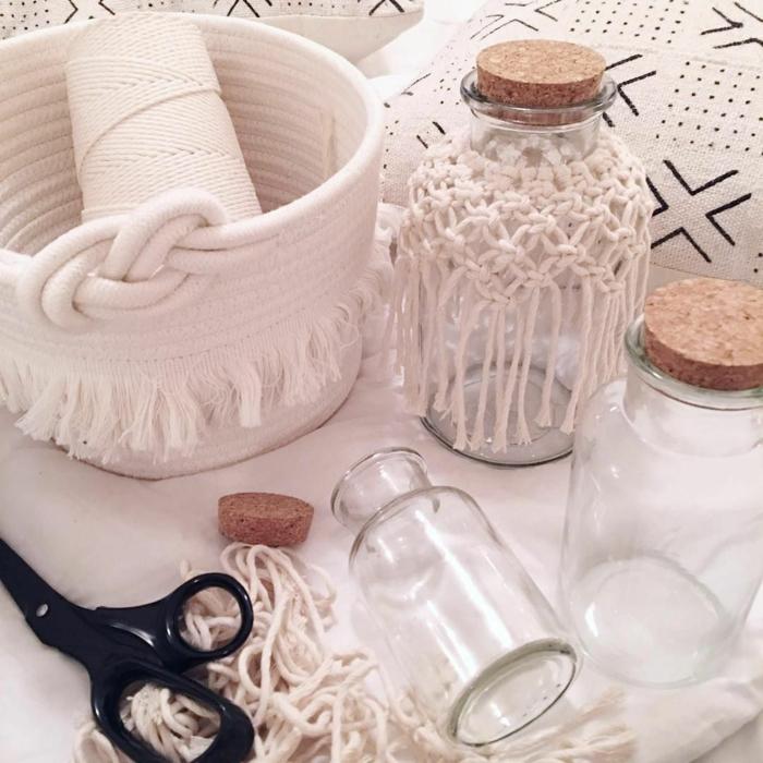 kerzenglas makramee anleitung diy weiße garn weiße deko makramee knüpfen