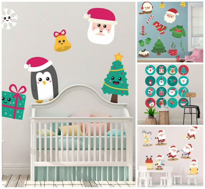 kinderzimmer dekorieren weihnachten wandtattoo weihnachtsfiguren weihnachtsmann penguin weihnachtsbaum dekoration inspiration