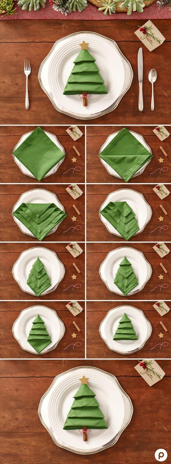 kreative tischdeko servietten falten weihnachten einfach anleitung schritt für schritt erklärung weihnachtsbaum aus serviette