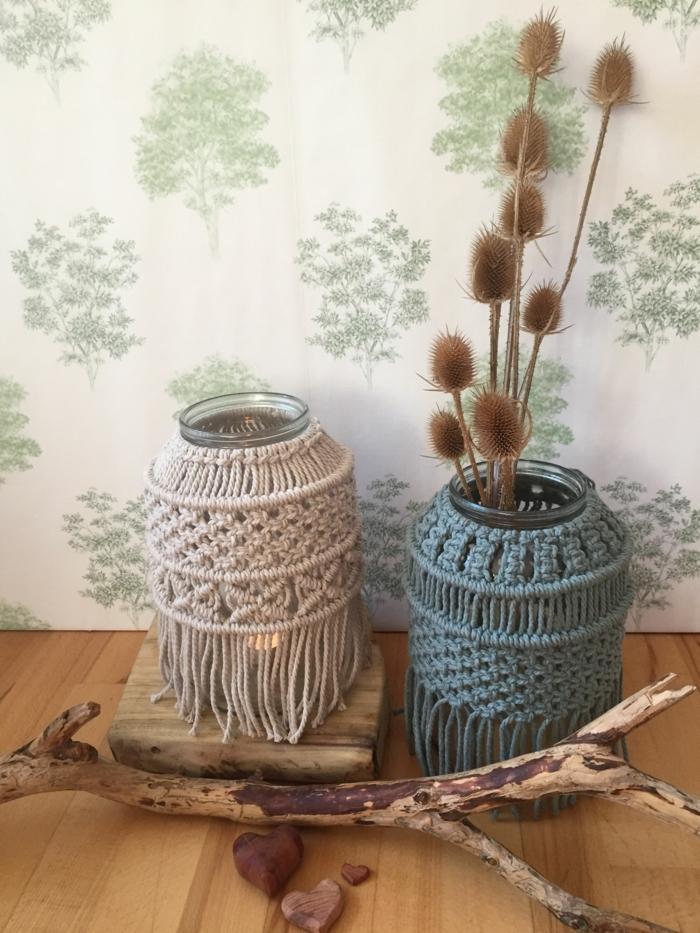 makramee diy windlicht selber machen zwei makramee gläser blau weiß vase und kerzenglas