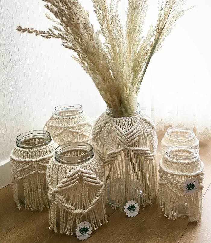 makramee kerzenglas vase diy anleitung fünf makramee windlichter pampasgrass
