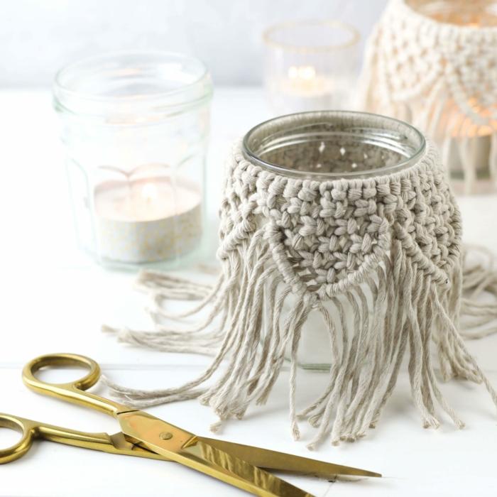 makramee kerzenglas windlicht selber machen ein makramee glas scheren makramee diy