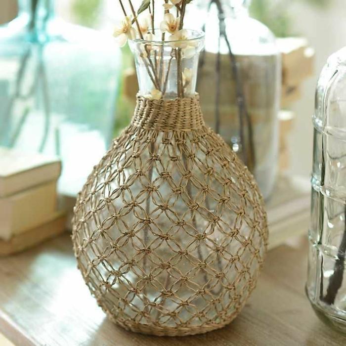 makramee vase anleitung fischnetz knüpfen tischdeko boho makramee
