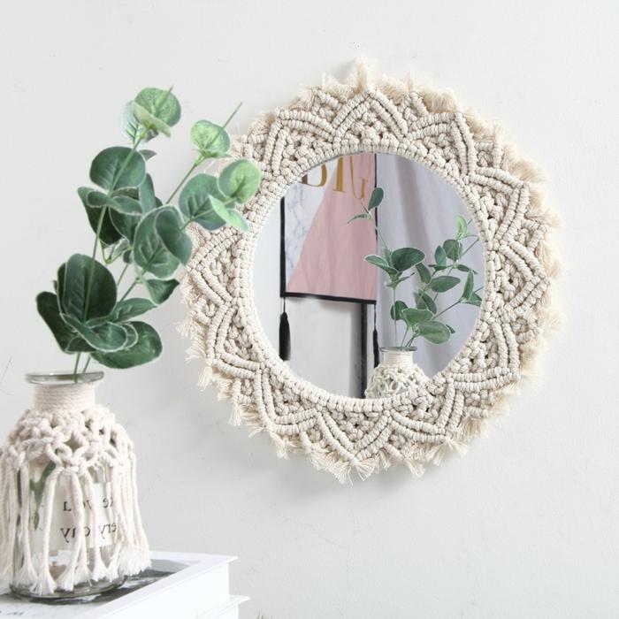 makramee vase diy hausdeko mit makramee spiegel kombinieren