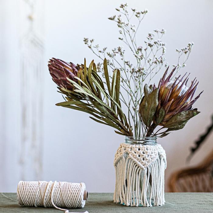 makramee vase selber machen knoten pflanzen stellen