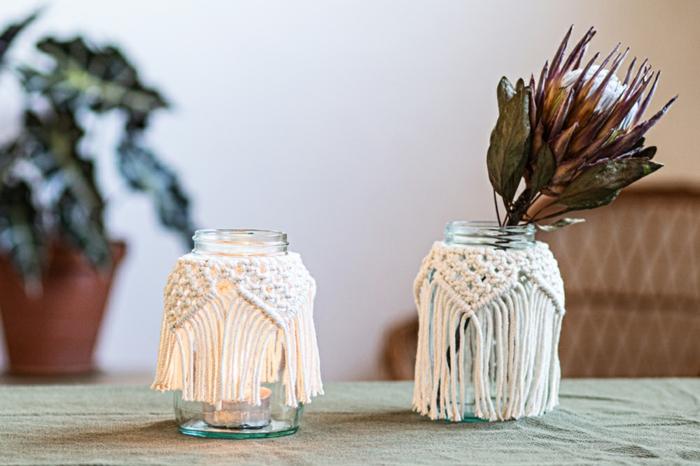 makramee vase selber machen windlicht kerze und vase anleitung