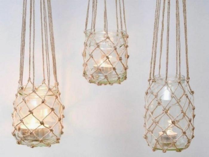 makramee windlicht glas selber machen drei kerzengläaser fischernetz knüpfen