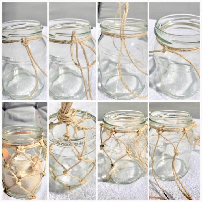 makramee windlicht selber machen fischernetz anleitung selber machen makramee kerzenglas acht schritte